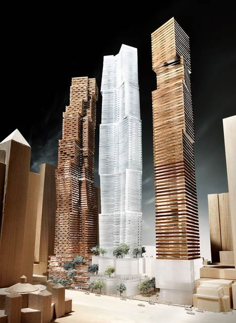 furnaceofdoubt:  Frank Gehry's design for three condos on King Street West. This is awesome.  I hope this gets approved   *Toronto just keeps going up CONTEXT