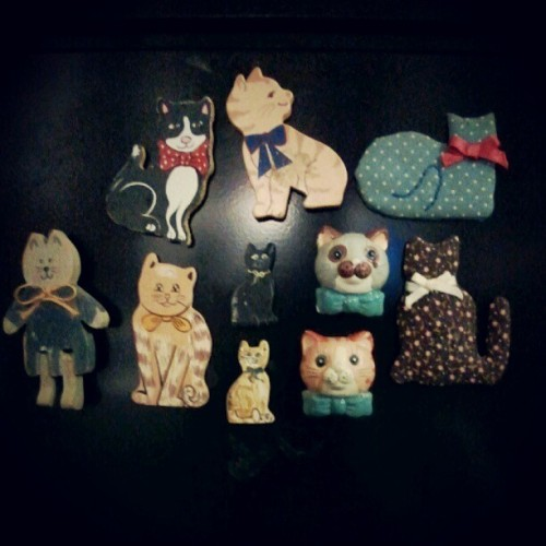 A cute selection of cat magnets! #photography #photo #photooftheday #image #imagery #picture #pictureoftheday #simple #simplistic #minimal #minimalistic #instagram #instamood #instafamous #instaaddict #instahub #instagramhub #iphonesia #android #magnets #cats #eclectic #quirky #cute #goodwill (Taken with Instagram)