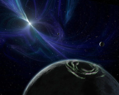 "Alien Planets Circling Pulsing Stars May Leave Electric Trails  Alien worlds that orbit the energetic dead stars known as pulsars may leave electric currents behind them – anomalies that could help researchers find more of these strange planets.  Image: This artist's impression shows the planetary system around pulsar PSR B1257+12, one of two pulsars known to be host to at least one planet. Such planets around pulsars may have powerful electromagnetic wakes around them.  Credit: NASA/JPL-Caltech/R. Hurt (SSC)   Astronomers know of only four ""pulsar planets"" so far, and much remains unknown about such worlds, but scientists propose that they formed in the chaos after the supernova explosions that gave birth to the pulsars.  A pulsar is a kind of neutron star, a stellar corpse left over from a supernova, a giant star explosion that crushes protons with electrons to form neutrons. Neutron star matter is the densest known material: A sugar cube-size piece weighs as much as a mountain, about 100 million tons. The mass of a single neutron star surpasses that of the sun while fitting into a ball smaller in diameter than the city of London.  Pulsars spin extraordinarily rapidly, up to thousands of revolutions per second, and they flash like lighthouse beacons — hence their name, which is short for ""pulsating star."" They are also extremely magnetic — a kind of pulsar known as a magnetaris the most powerful magnet in the universe.  Despite the exotic nature of pulsars, they have been seen hosting planetary systems.    Full Article"