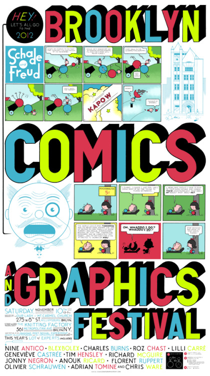 "cafeconleche-blog:  comicsandgraphics:  This year's poster by Chris Ware!  See you there this saturday! I'll be at table U25, carrying all our Cafe con Leche goods along with the newest issue of Gang Bang Bong. I will also be speaking in a panel about ""the international comics scene"", so don't miss it!"