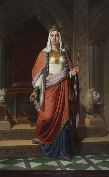 Doña Urraca by Carlos Múgica y Pérez (1857), Museo del Prado, Madrid. Urraca of León and Castile (1079-1126) was the only Spanish woman of the medieval period to rule on her own.