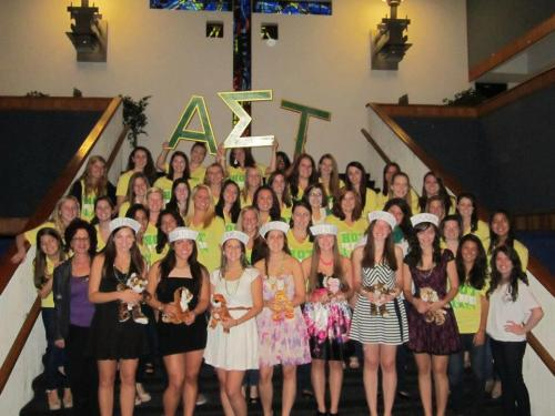 healthybuddha:  Alpha Sigma Tau Beta Delta Chapter with 7 of our 8 new members! Welcome to the love of AST! Tau love and mine!
