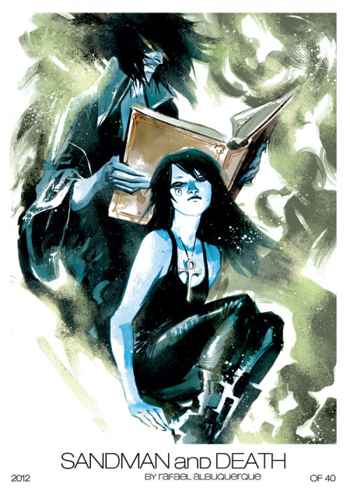 Convention print of Morpheus and his sister Death by Rafael Albuquerque
