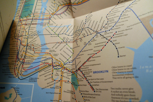 """Clive & Viv move to NYC"", a subway map found inside the new Stephen Marche book Love and the Mess We're In published by Gaspereau Press. Look closely at the station names however, and you'll find they've all been turned into such things as song titles, dance moves, gangster names, or ideologies. This map required a solid 2 weeks of work by a cartographer and lots of historical fact checking. The ultimate transit/literary mash-up, suitable for framing!"