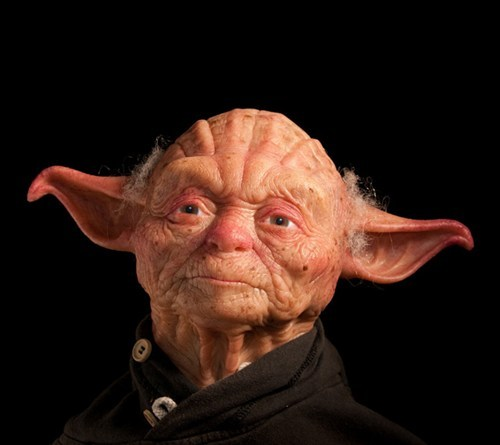 (Somewhat) Human Yoda Model of the Day: Minus the ears, it's not hard to imagine this incredible Yoda sculpture as the kindly old man across the street. Especially if you live on Dagobah.  More shots and some of the building process at Laughing Squid.