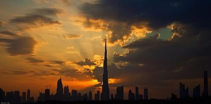 Dubai evening sky.