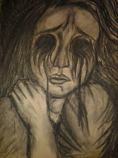 Charcoal on brown paper. From portrait sketchbook.