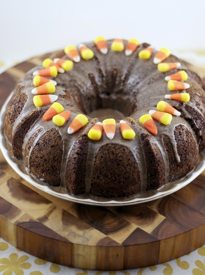 candy corn chocolate bundt cake