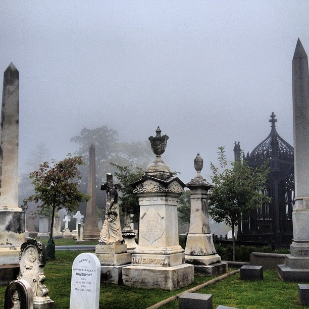 Foggy Morning + Historic Cemetery = Creepfest 2012 #RVA #Fog #Cemetery (Taken with Instagram at Hollywood Cemetery)