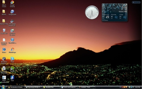 What my desktop looks like right now. Notice how the time at the analog clock at the upper right differs from the time at the digital clock at the bottom right? That's because the time at the analog clock is GMT +04:00, which is the local time at Moscow (and only a few friends of mine would know why I'm interested in Moscow's time) I'm also loving my wallpaper which has hombre written all over it, whilst the city lights - which are very adorable and lovely. The weather at the city is cold. Hoping for my rainy and cuddle days for this October! <3