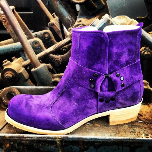Purple Split Suede made in america women's engineer boot