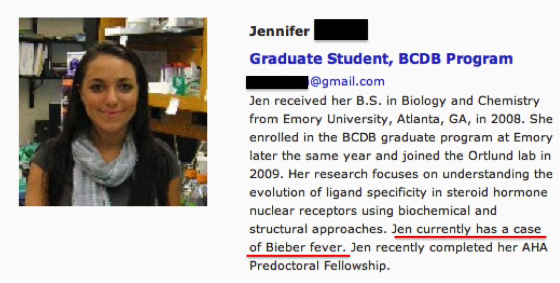 My boss updated our lab's webpage. He asked us each to submit a brief bio of ourselves. I guess he never proofread my submission.     (Don't get your panties in a bundle, I'll edit it before I start seriously looking for a job.)