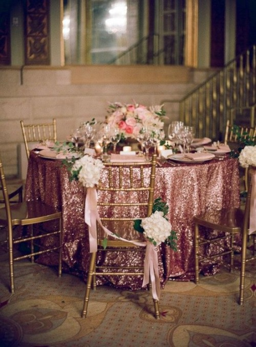 bride2be:  pink sequined tablecloth, so glam  I kinda love the idea of doing something super glam in the middle of a forest.