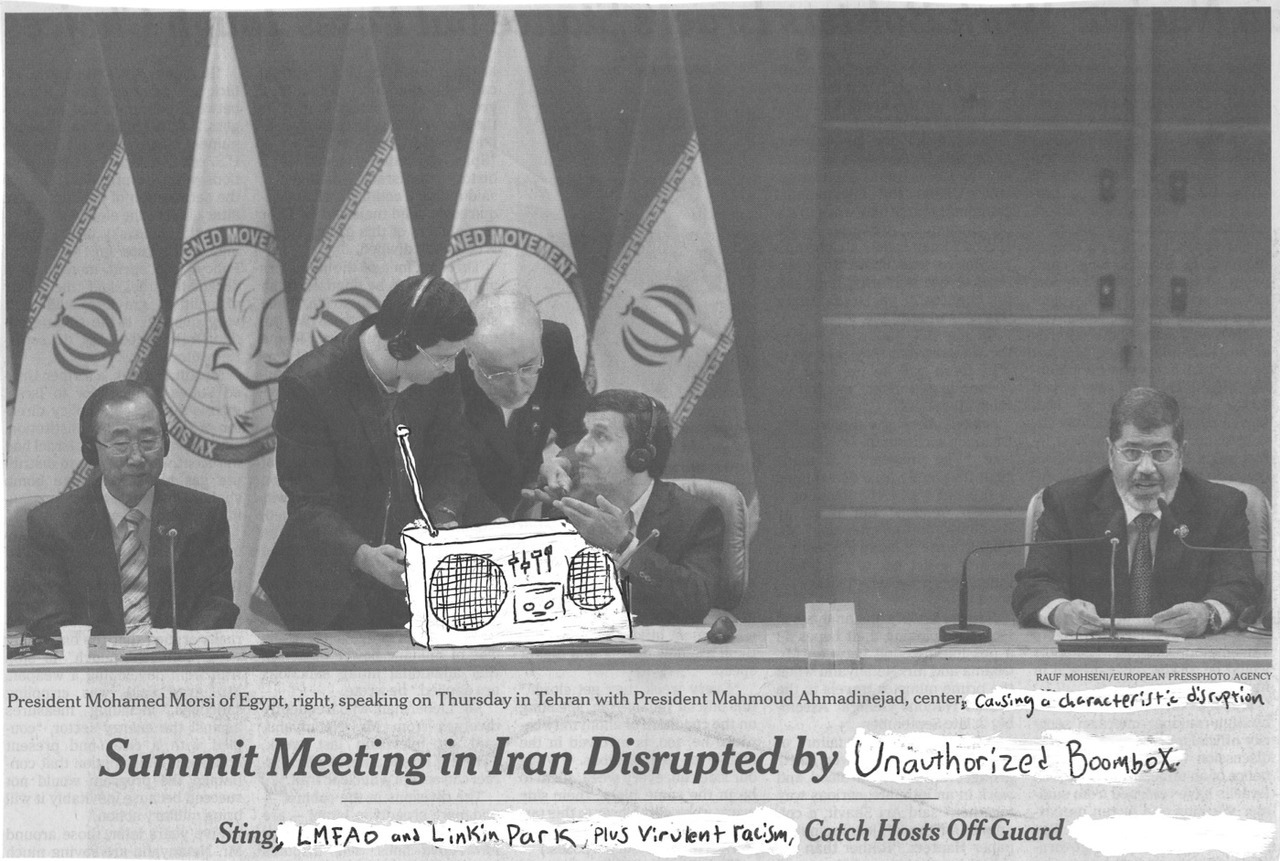 Ahmadinejad at it again: Summit Meeting in Iran Disrupted by Unauthorized Boombox Sting, LMFAO and Linkin Park, Plus Virulent Racism, Catch Hosts Off Guard Photo: President Mohamed Morsi of Egypt, right speaking on Thursday in Tehran with President Mahmoud Ahmadinejad, center, causing a characteristic disruption