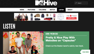 "prettyandniceband:  Our new single ""CAPSULES"" is premiering NOW at MTVHIVE.COM  CHECK IT OUT PLEASE!"