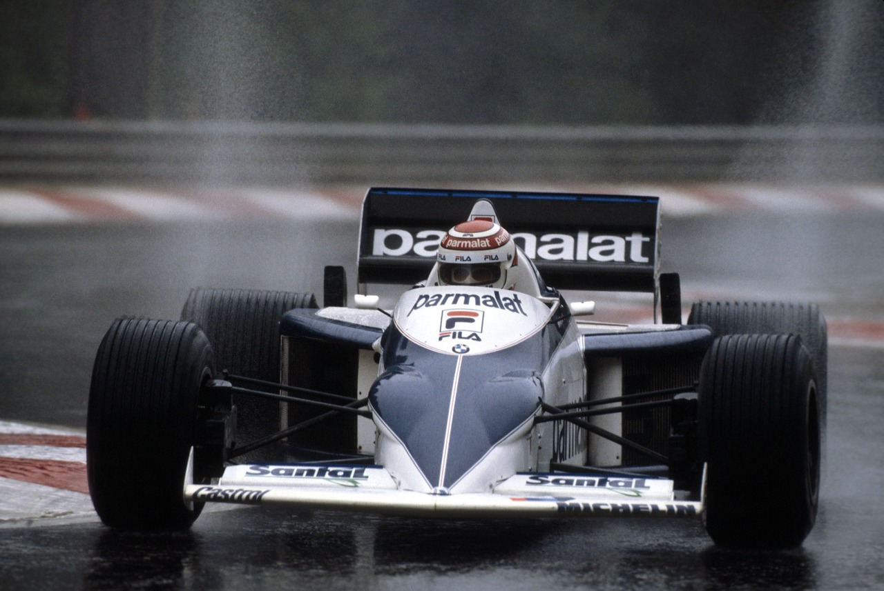 itsawheelthing:  spray it …Nelson Piquet, Parmalat Brabham-BMW BT52, 1983 Belgian Grand Prix, Francorchamps, Busstop chicane