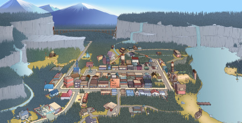 moringmark:  Gravity Falls Map For the full size image (4500 x 2284) : http://markmak.deviantart.com/#/d5go4wy