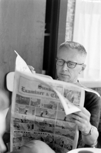 awesomepeoplereading:  Charles Schulz reads.  Remember when newspapers were a content platform that created and inspired world changing content? ~ eP