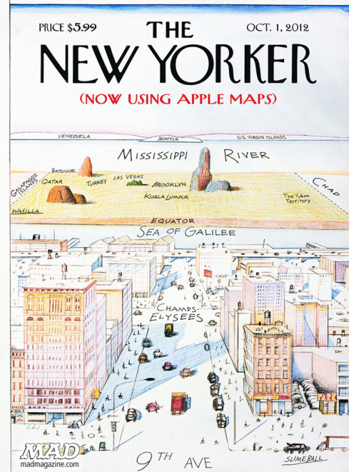 laughingsquid:  Apple Maps Version of the Famous New Yorker Cover of New York City