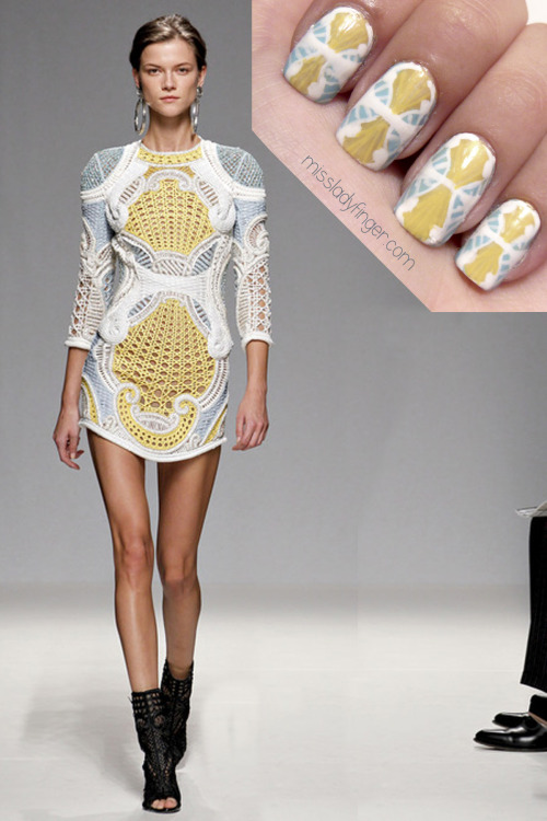"missladyfinger:  MANICURE MUSE: Balmain Spring '13 For Olivier Rousteing's Balmain Spring '13 collection, the theme is go big or go home. And no, it's not about the 1980s perm. Instead, its about the nineties power suit that generously welcomes the shoulder pad back with the series of oversize smoking jackets with a serious shoulder. ""It's the nineties, Latin-style,"" Rousteing declared. The Latin part came by way of leather crop tops, oversized hoop earrings, harlequin prints, and the elaborate woven wicker pieces inspired by Cuba.One thing is for sure– Rousteing never fails at producing a show that sizzles. The glam-chic Balmain power woman is definitely someone to aspire to. Click here for nail colors and step-by-step instructions!"