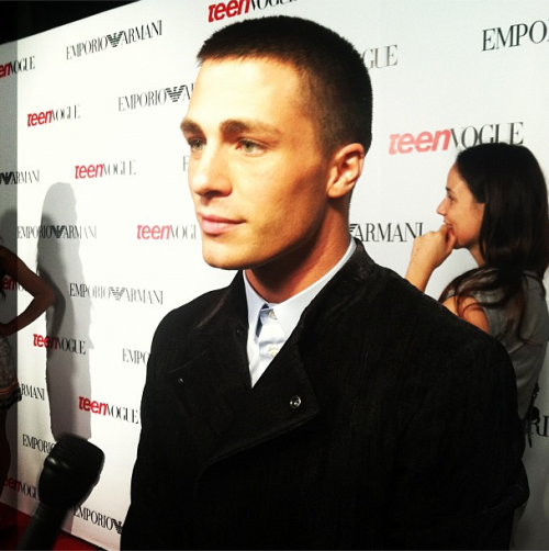 MTV Teen Wolf star Colton Haynes looked sharp in Emporio Armani at the Teen Vogue Young Hollywood party
