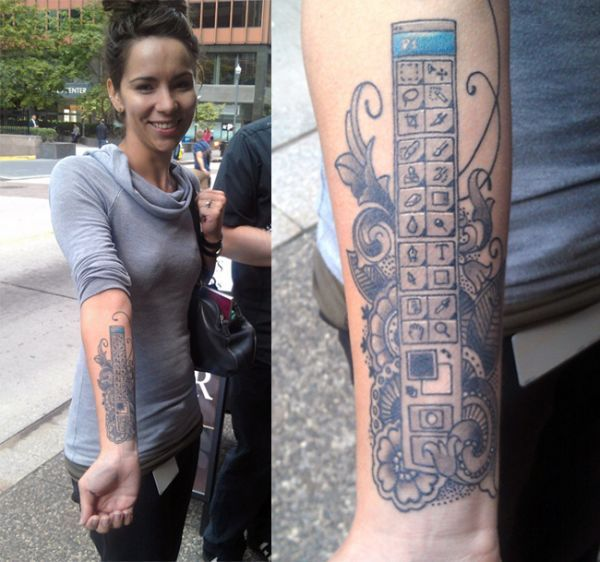 The Girl With The Photoshop Tattoo Future wife material. Read an interview with her over on the Photoshop blog. Buy: Body Type, a book about tattoo typographyPeep it: More geeky tattoos