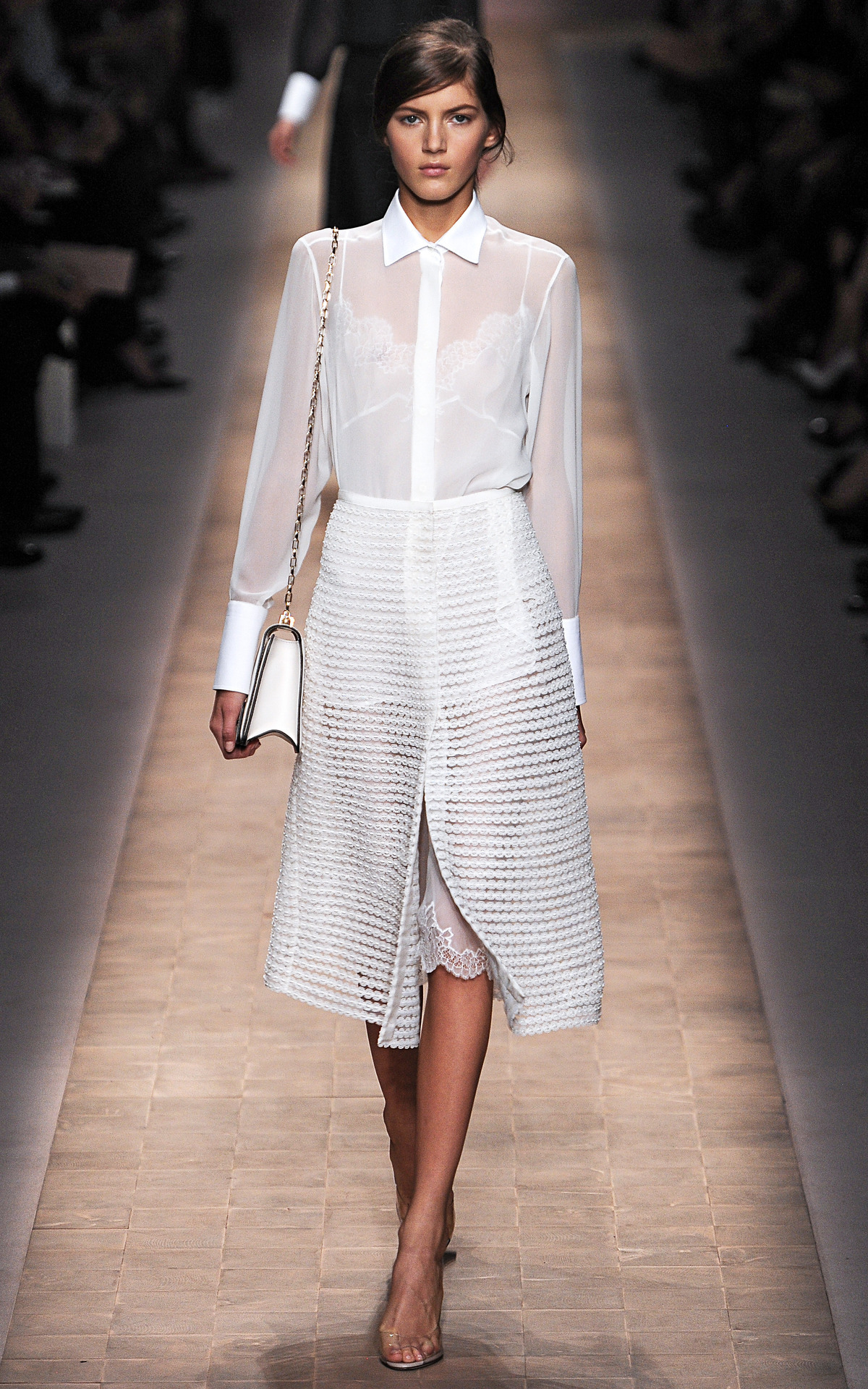 Photo by firstVIEW Buttoned up sexiness. Valentino Spring 2013, Paris.