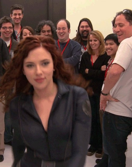 Everyone Checks Out Scarlett Johansson's Butt That or they are all just really happy she's finally leaving.