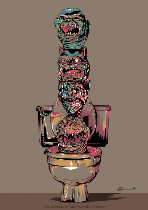 "csnyde:  Ghoulies Totem - 11x17 Digital, 2012 I also created this 11x17 digital piece to sell as a print at Ltd. Art Gallery's ""B Movies"" show opening this Friday in Seattle- October 5 2012. http://www.facebook.com/events/283086905133280/ *They upload the full set of originals from the show along with any available prints onto their website store for sale starting the Monday/Tuesday following the opening.  Awesome art of an awesome movie. The cat's design in the second movie is adorbs."