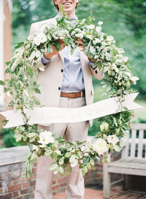 large wedding wreath, photo by Rylee Hitchner