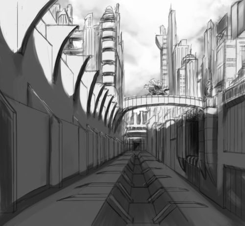I was feeling inspired to work on my line art and perspective last night.  So here's the result.  I was a bit lazy about the perspective but hopefully everyone can look past that. :X