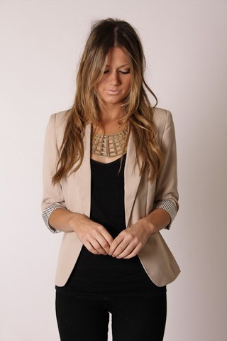 #PinterestFashionFind: Neutral blazer with statement necklace. Source: http://www.esther.com.au/collections/new-arrivals/products/2-8