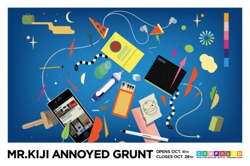 "Check out ""Annoyed Grunt,"" a solo show by AOL Artist Mr. Kiji. Last year, Mr. Kiji was struck by a car while riding a bicycle to work. Due to the accident, he lost all ability to feel or use his hands or several months. The computer became his sole creative outlet, developing a new visual style. ""Annoyed Grunt"" opens October 4th at Compound Gallery in Portland Oregon. The reception is from 7pm-10pm. The Show closes October 28th. For more information about available works and product please contact: info@compoundgallery.com compoundgallery.com or mrkiji.com"