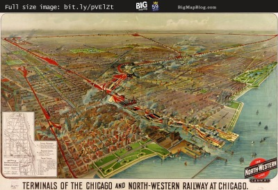 Map: Terminals of the Chicago and North Western (1902) originally posted to the BIG Map Blog.