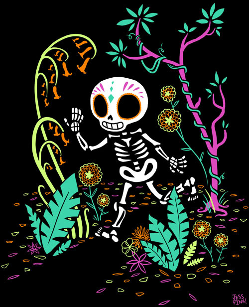 A little Calavera exploring the jungle. This design is available on a shirt from Hey Chickadee! AND I couldn't be more happy because the skeleton GLOWS IN THE DARK! Eeeeeee! :D !!http://www.heychickadee.com/products/sugar-skull-jungle-t-shirt-glows-in-the-dark It's fall you guys!!! Halloween! Day of the Dead!! Pumpkins and sugar skulls and leaves in the wind and spices! I am getting EXCITED.