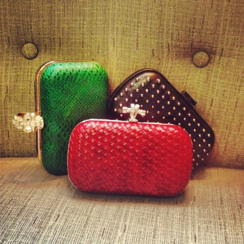 Just In! Box clutches in rich colors and kick ass details @ $40 a pop, how can you go wrong?! (Taken with Instagram)