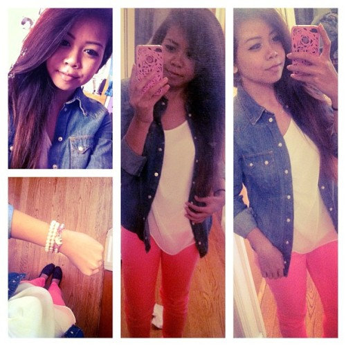 Sisters day out :). #ootd #chambray #hotpinkpants #TOMS #armcandy #naturalhair #h&m #forever21 #hollister (Taken with Instagram)