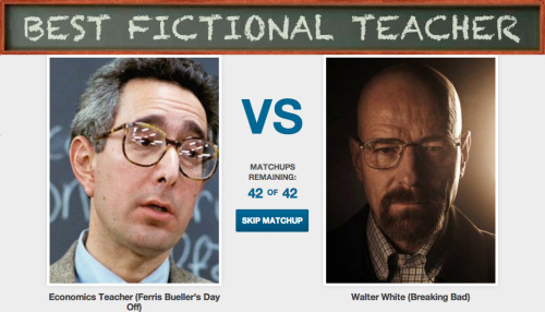 Who is the Best Fictional Teacher? [Click to begin voting] We can all agree that classrooms work better as sitcom sets, so lets recognize the teachers we actually paid attention to.