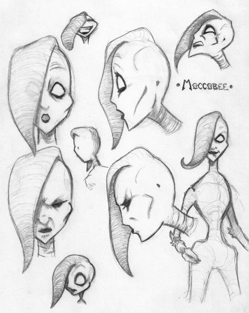 Some head shots of Maccabee, my gothic little Will-o-the-wisp. I'm pretty happy with most of these, but what do you think? Any suggestions? My last two questions to wrestle with are: What does she dress like? I want to marry a certain classic, timeless sense of fantasy with a little 90's, West coast goth sensibility. Not sure what that looks like, especially on her alien physiology, which brings me to question two: While you can't see much of her body in these sketches, at least one shows that I'm going for a slightly insectoid, but largely humanoid form. I want her to be spindly and wiry, but I have questions about how human I want her body to appear to be. I've considered a much more bee-like body type, with four wispy legs attached to a thorax like structure. I'll try and get some sketches of that up, but I'd love input. I've done a fair bit of work on the story's underpinnings in the last week; I'll try and figure out how to turn some of that into a blog post soon. Have a good one!