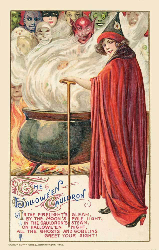 monsterman:  The Hallowe'en Cauldron (1912, Postcard) by John Winsch