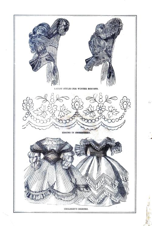 Ladies' Winter Bonnets, Edge Embroidery Design, Children's Dresses; from Godey's Ladies' Book, January 1864