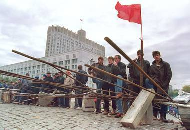 At the barricades: Defenders of the Supreme Soviet in Moscow before Yeltsin's assault, October 1993.
