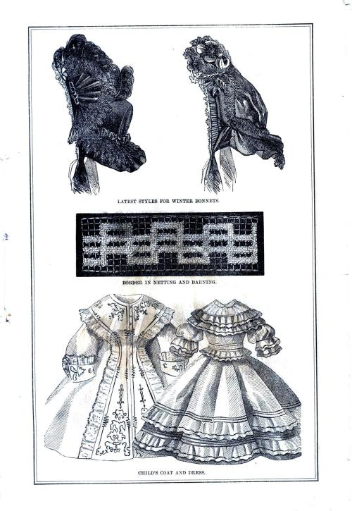 Ladies' Bonnets, Edging in Darning Stitch, Chidren's Gowns; from Godey's Ladies' Book, January 1864