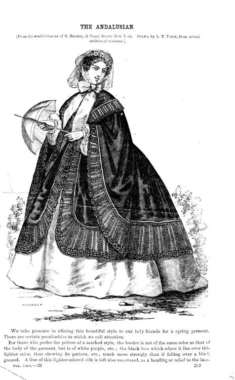 The Andalusian cloak, from Godey's Ladies' Book, January 1864
