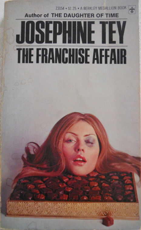 Debbie Harry modeled for the paperback book cover of this 1971 reissue of Scottish author Josephine Tey's 1949 mystery novel, The Franchise Affair.