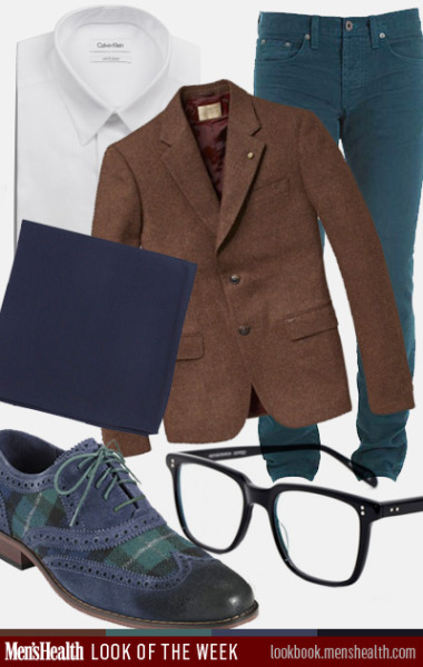 Here's how to mix jewel and Earth tones this season. Jacket: Scotch & SodaPants: J BrandPocket square: The Tie BarShoes: Cole Haan Shirt: Calvin KleinGlasses: Oliver Peoples