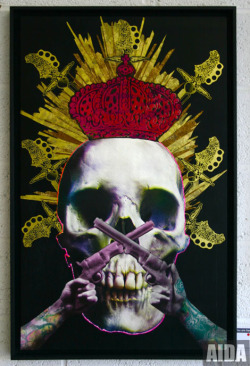 Dying of Almost Certain Death- Screen Print with Gold Foil & Pink Flock