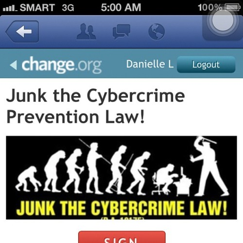 PLEASE DO SIGN A PETITION AT CHANGE.ORG  #notocybercrimelaw #fuckthesystem #fuckthegoverment  (Taken with Instagram)