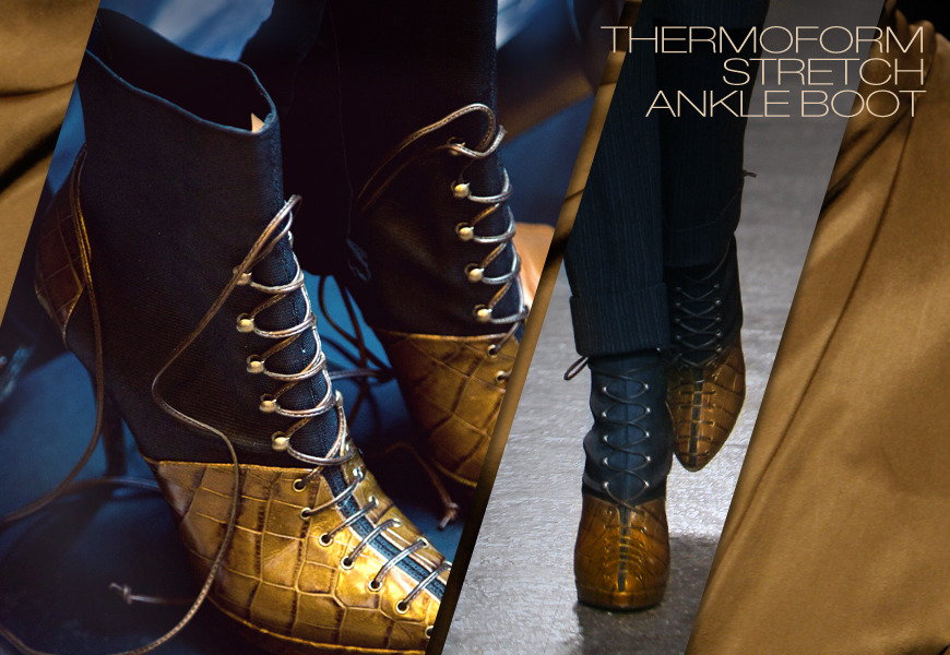 THE THERMOFORM STRETCH ANKLE BOOT    Talk about boots made for walking. This handmade Italian boot is as much about function as it is about fashion. First, it's made from a combination of stretch sateen and luminescent croc print, so you have the sleek comfort of stretch, mixed with the high glam of croc. Second, it's a pull-on, which speaks to ease and speed. The insole is triple padded, its boot shaft elasticized. Most critical, the small platform allows us to use a mid-size heel, so you have the sky-high look without the sky-high arch. I also love that the platform and under-arch is one piece, so it's seamless look from every ankle.