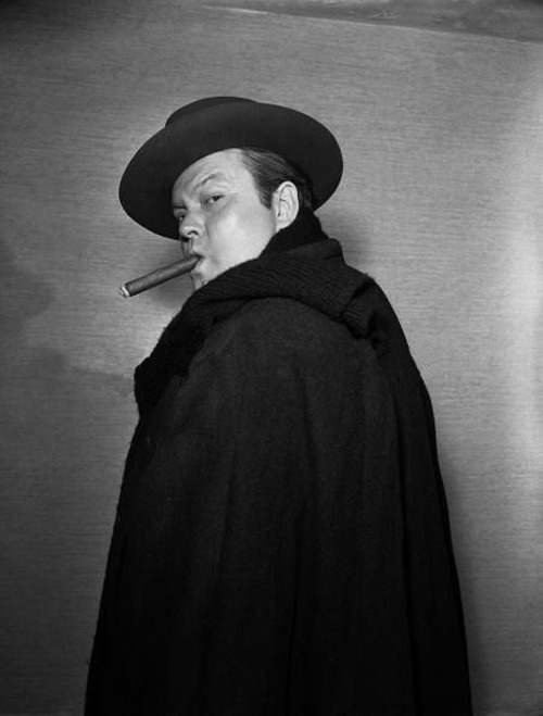 Orson Welles is smoking